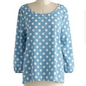 Modcloth Blue and White Polka Dot Flowy Blouse